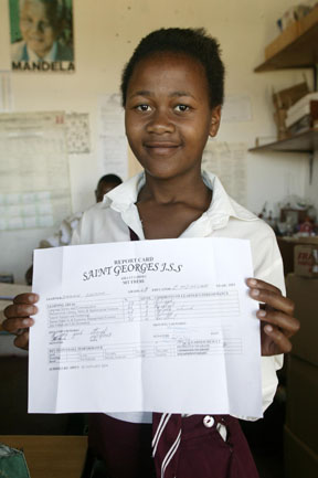 Girl completing junior secondary school in South Africa