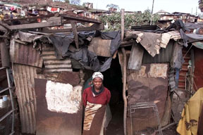 Woman in shanty town