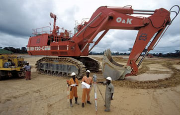 Earth movers at a Ghana construction site