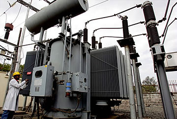 An electricity sub-station in Kenya