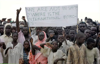 Residents of a camp for displaced people in southern Darfur appeal for international protection