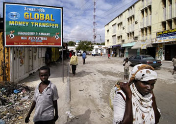 Advertisement for money-transfer services in Mogadishu, Somalia