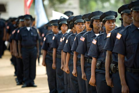 Graduates of the police academy in Liberia.