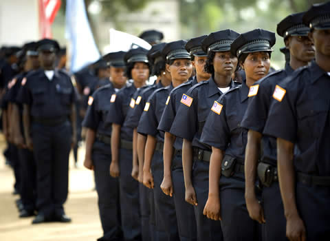 Graduates of the police academy in Liberia