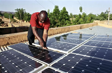 Maintaining solar panels in Mali