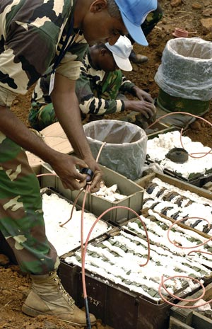 A demining company contracted by the UN in South Sudan prepares to destroy anti-personnel landmines