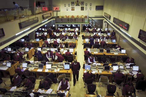 Traders on the floor of the Nigerian Stock Exchange