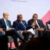 L-R: AfDB president Akinwumi Adesina, President of Mauritania Mohammed Ould Cheikh El Ghazouani, President Nana Addo Akufo-Addo of Ghana,   President Uhuru Kenyatta of Kenya and UK's International Development Secretary Alok Sharma