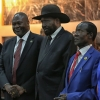President Salva Kiir holding hands with his First Vice President Riek Machar and three of his four Vice Presidents. The fourth VP was appointed on 23 February.