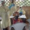 A World Health Organization (WHO) Ebola vaccination team works in Butembo in the Democratic Republic of the Congo in January 2019.