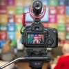 Deputy Secretary-General Amina Mohammed (left, on screen) in an interview at the SDG Media Zone.