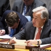 UN Secretary-General António Guterres addresses a Security Council meeting on peace and security in Africa.