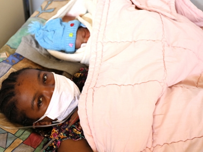 Sonia was able to receive a Caesarean section shortly after arriving at the hospital.
