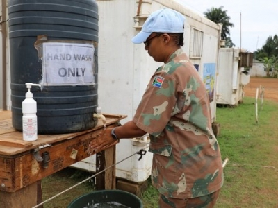 UN peacekeepers in the Democratic Republic of the Congo are practicing safe hand-washing in order to prevent the spread of the coronavirus