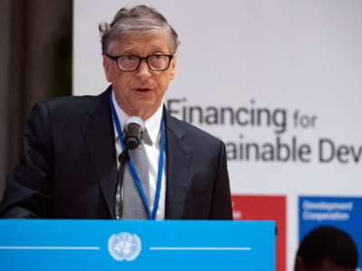 Bill Gates, Co-chair of the Bill & Melinda Gates Foundation, addresses the High-level Dialogue on Financing for Development summit taking place at UN Headquarters in New York. (26 September 2019), by UN Photo/Evan Schneider