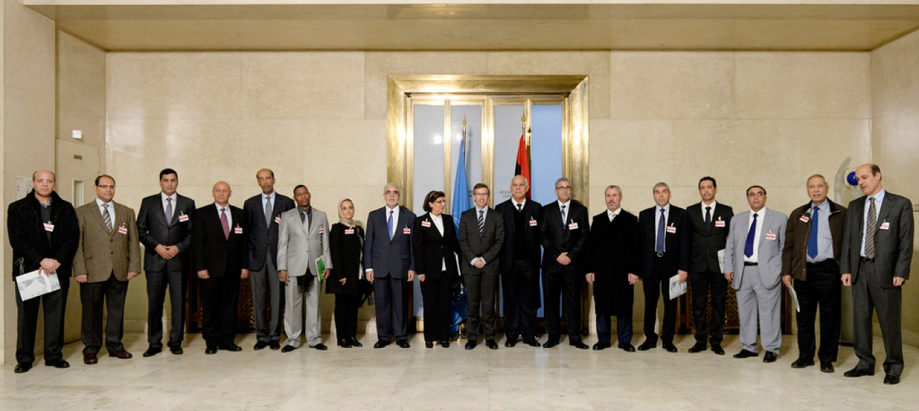 Participants in the Libyan Political Dialogue on arrival at the UN Office in Geneva on 14 January 2015 to start a new round of talks aimed at resolving Libya crisis. UN Photo/Jean-Marc Ferré