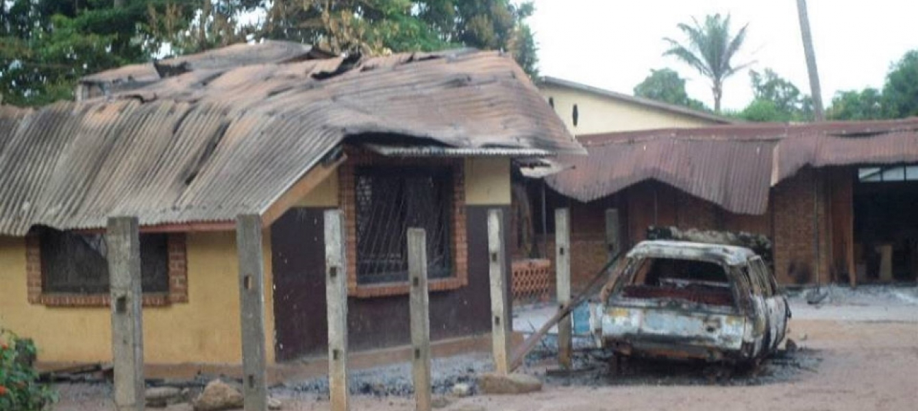 The St Michel church and adjacent priest's house were torched during protests in Bangui sparked by the killing of a Muslim man. Photo: Crispin Dembassa-Kette/IRIN