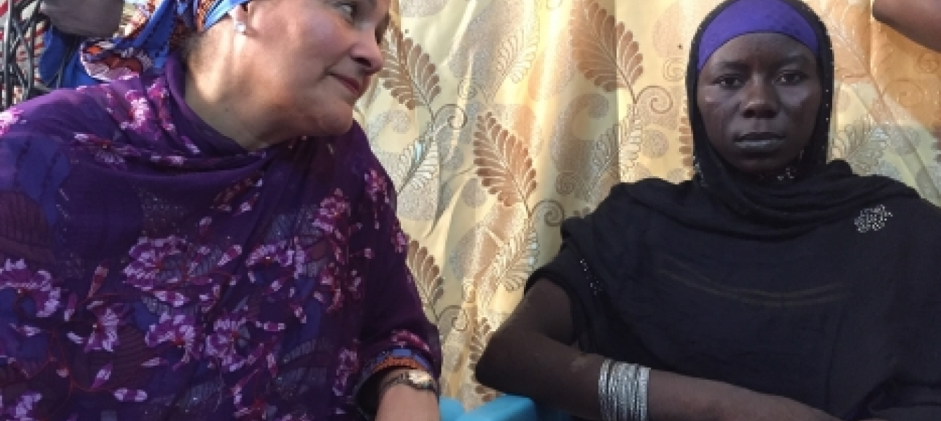 In Bol, Chad, the Deputy Secretary-General, Amina Mohammed meets Halima Yakoy Adam who survived a Boko Haram suicide bombing mission. Photo: Daniel Dickinson, UN News