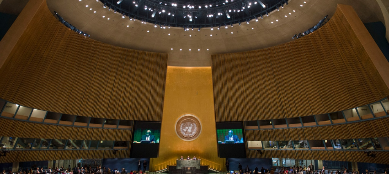 A wide view of the General Assembly Hall. UN Photo/Amanda Voisard