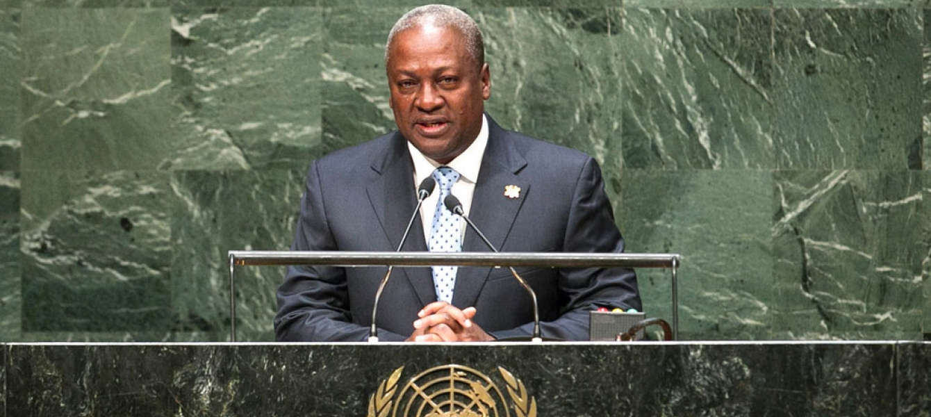 President John Dramani Mahama of Ghana addresses the General Assembly. UN Photo/Cia Pak