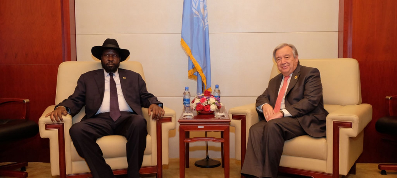 Secretary-General António Guterres (right) meets with Salva Kiir, President of South Sudan, at the 28th summit of the African Union (AU), in Addis Ababa, Ethiopia. UN Photo/Antonio Fiorente