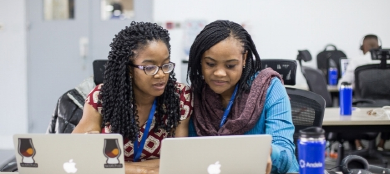 Software developers at Andela's Nigeria headquarters in Lagos. Photo: Andela/Rotimi Okungbaye