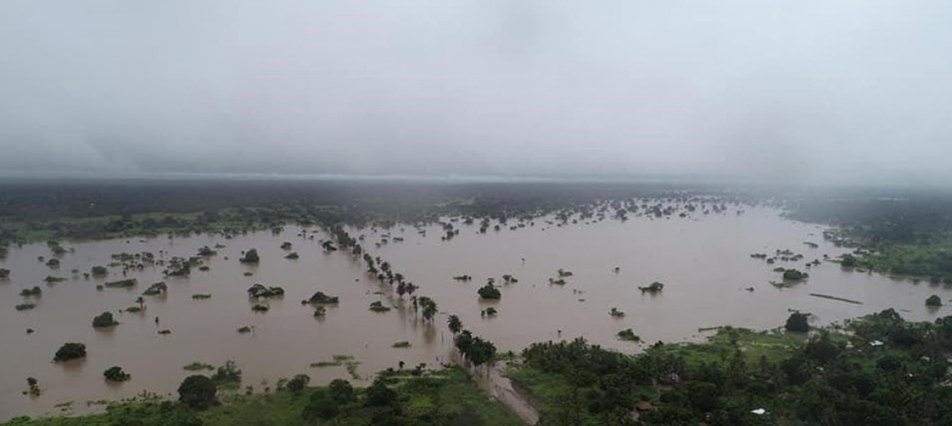 Aerial view of Mozambique affected by floods due to the tropical cyclone Idai