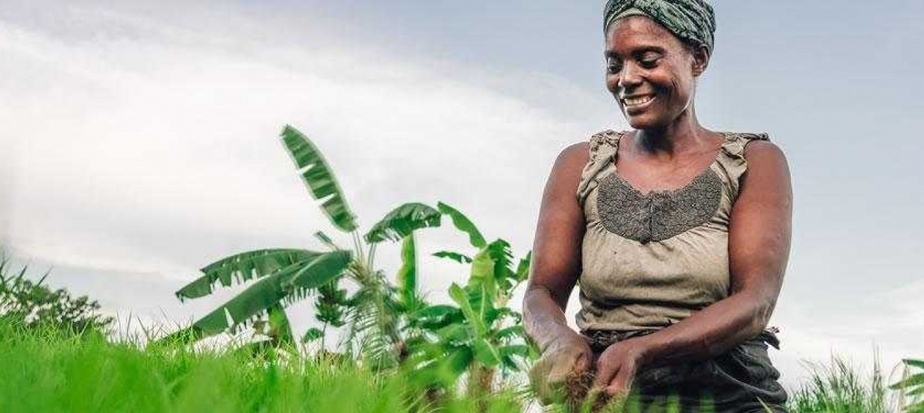 Woman smiling and foraging