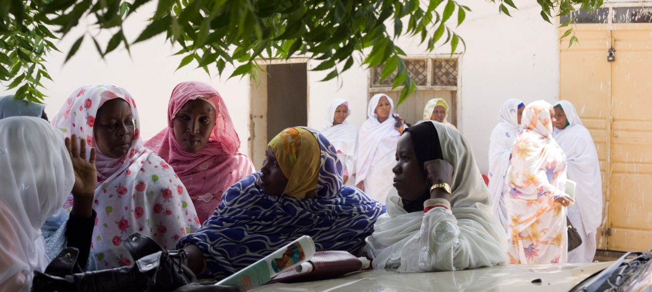 Women discuss politics at a women's conference in Darfur, Sudan.