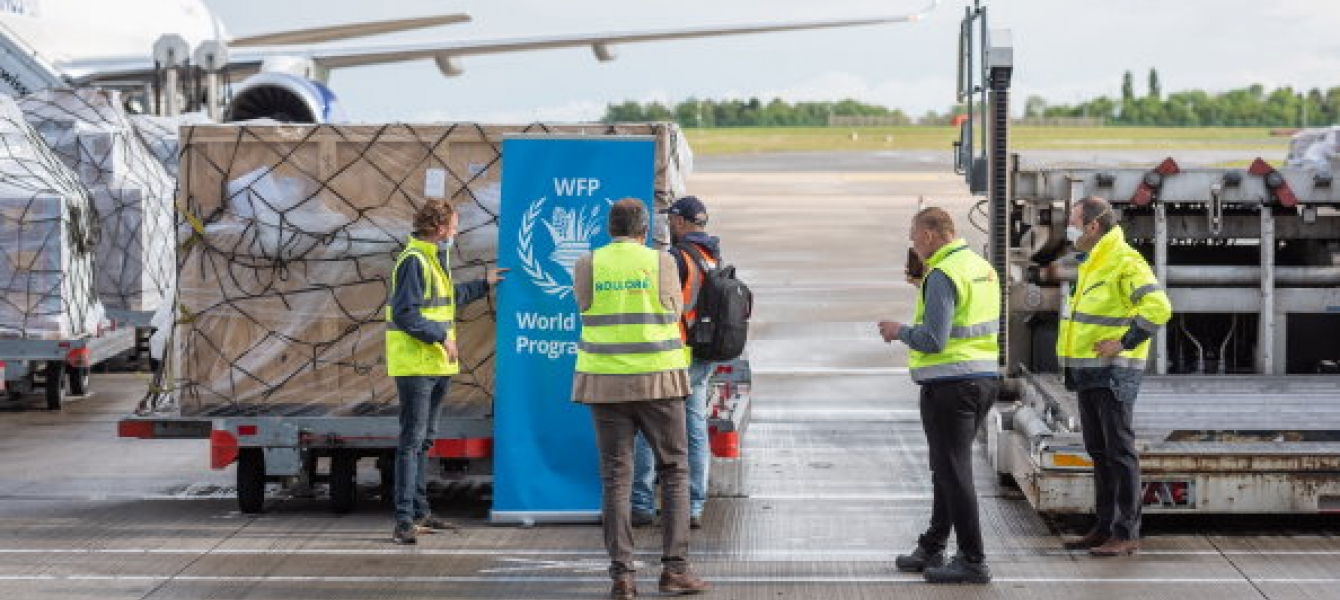A WFP-contracted Boeing 757 cargo flight being prepared to depart the newly-established Global Humanitarian Response Hub in Liège, Belgium carrying almost 16 mt of medical cargo and personal protective equipment such as masks and gloves on behalf of UNICE