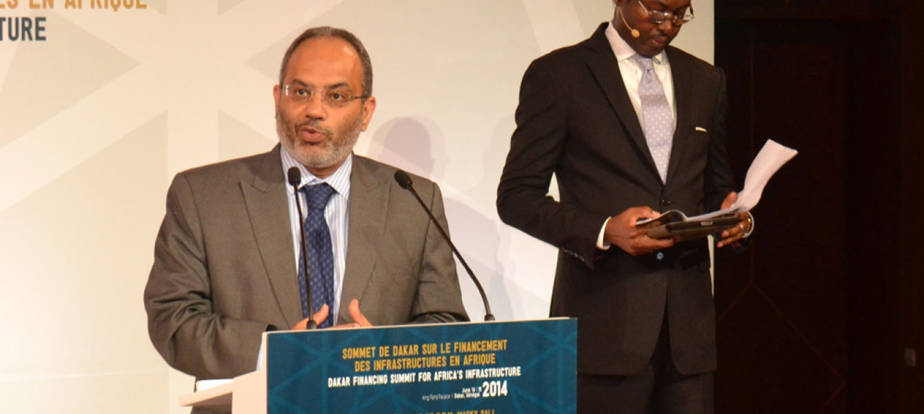 UNECA Executive Secretary Dr Carlos Lopez. In the background is moderator of the Summit, Amadou Mahtar Ba