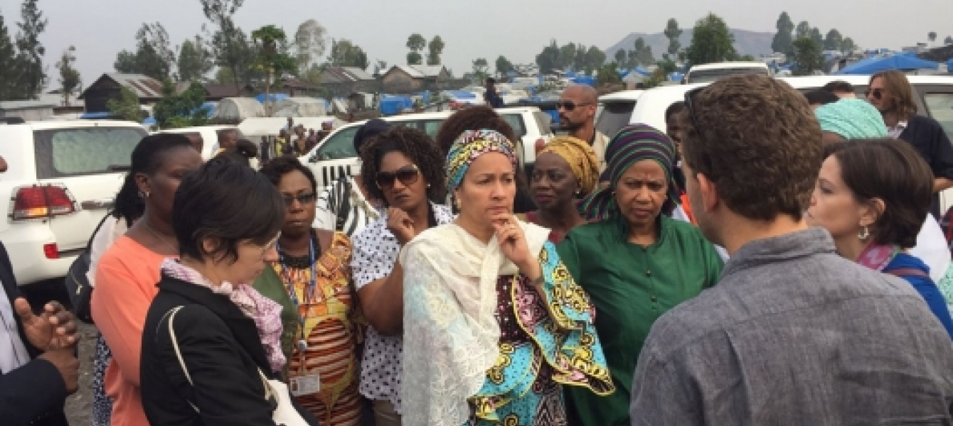Deputy Secretary-General Amina Mohammed (left) and UN Women Executive Director Phumzile Mlambo-Ngcuka lead high-level mission to Mugunga Camp for internally displaced people, in Goma, Democratic Republic of the Congo (DRC). Photo: UN News/Lulu Gao