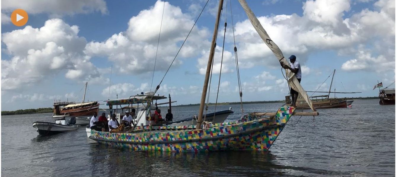 The FlipFlopi dhow, a 9-metre traditional sailing boat made from 10 tonnes of discarded plastic, will be the first boat of its kind to launch a world expedition on 24 January, 2018. Credits: UN Environment