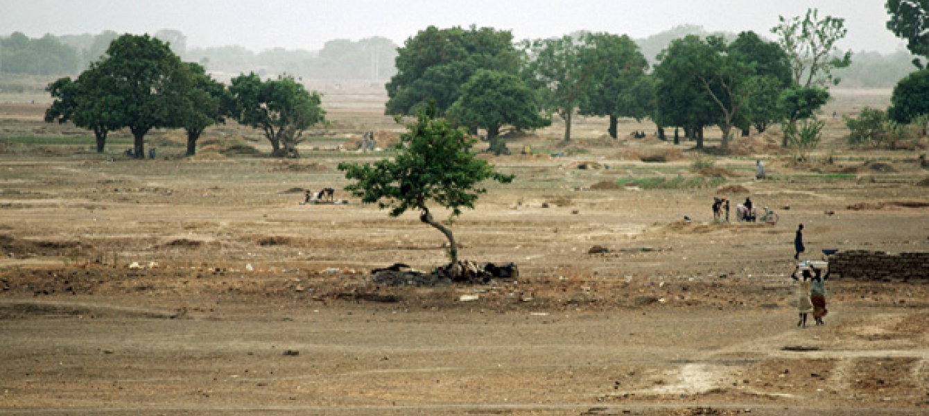 Dried-up riverbed outside Ougadougou, Burkina Faso. Photo: UN Photo/Kay Muldoon