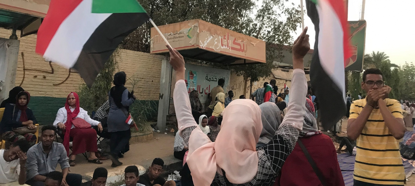 Demonstrators take to the streets in the Sudanese capital, Khartoum on 11 April 2019,