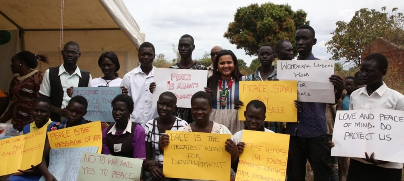 The UN Youth Envoy engaging with young peace ambassadors in Torit.