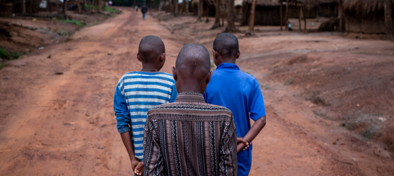 Three former child soldiers at Elevage camp in Bambari, Central African Republic.