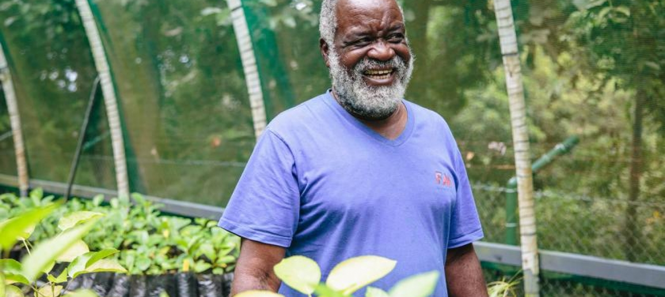 Victorin Laboudallon provides a tour of his tree nursery on Praslin Island in the Seychelles. Photo by UN Environment Programme / Aidan Dockery