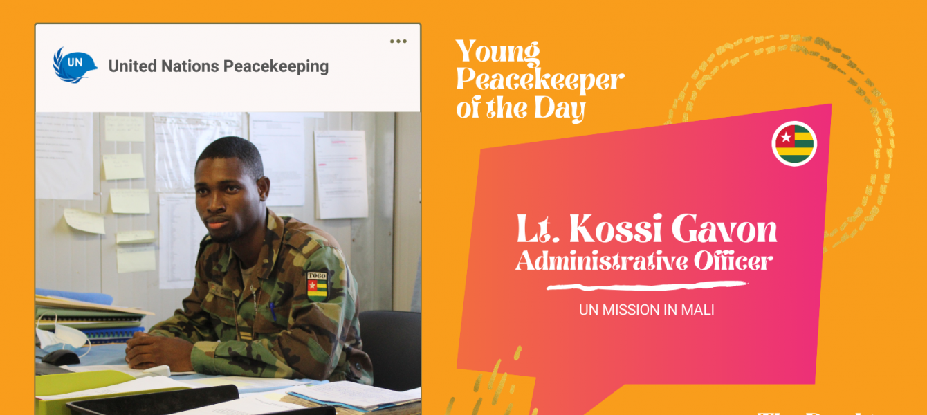 Kossi Gavon, 24, is a lieutenant from Togo serving in the UN Peacekeeping Mission in Mali. (MINUSMA).