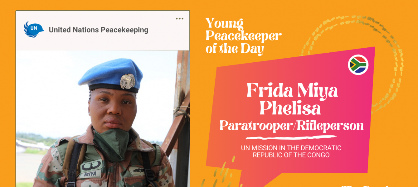 Phelisa Frida Miya, 28, a paratrooper/riflewoman from South Africa serving in the UN Peacekeeping Mission in the Democratic Republic of the Congo (MONUSCO)
