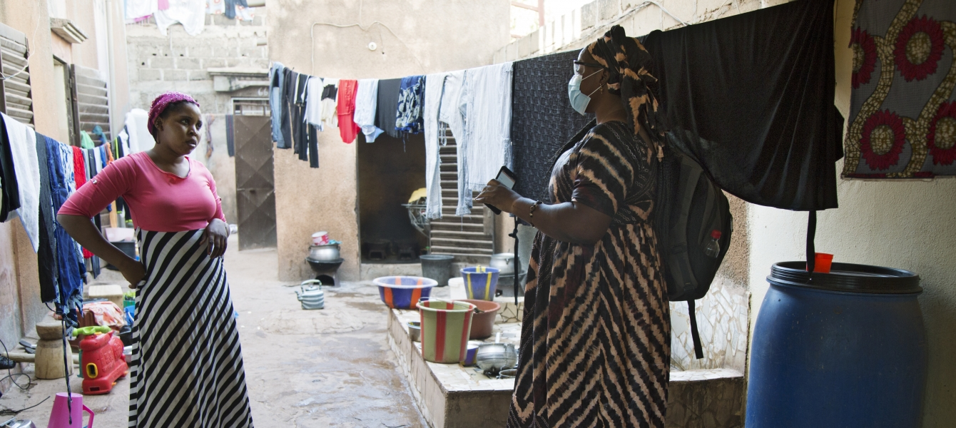 Miriam provides health education during home visits in Bamako, Mali.