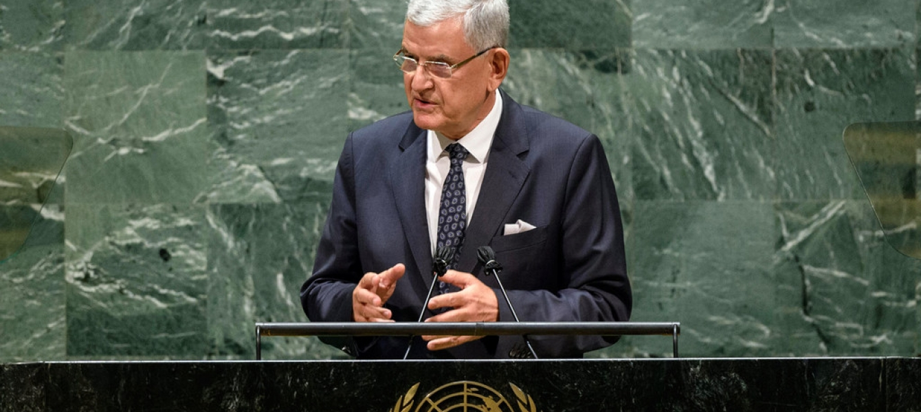 Volkan Bozkir, President of the 75th session of the United Nations General Assembly, delivers closing remarks to the general debate of the General Assembly's seventy-fifth session.