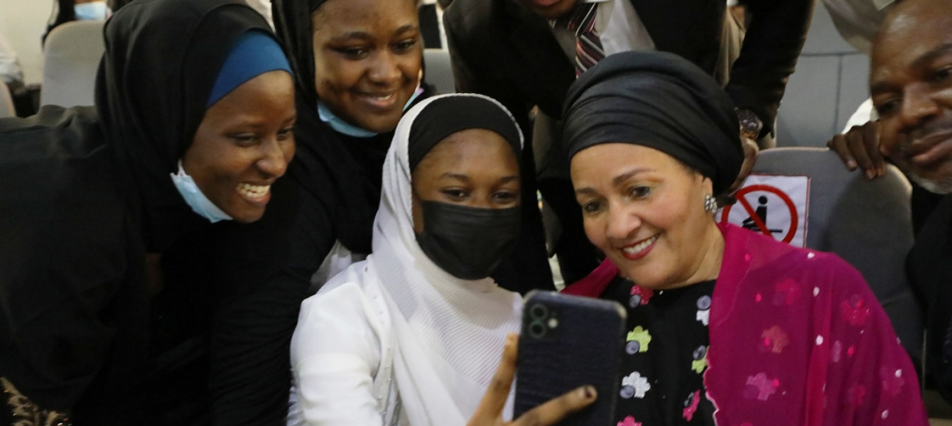 UN Deputy Secretary-General Amina Mohammed interacts with young women at Baze University Abuja in Nigeria.