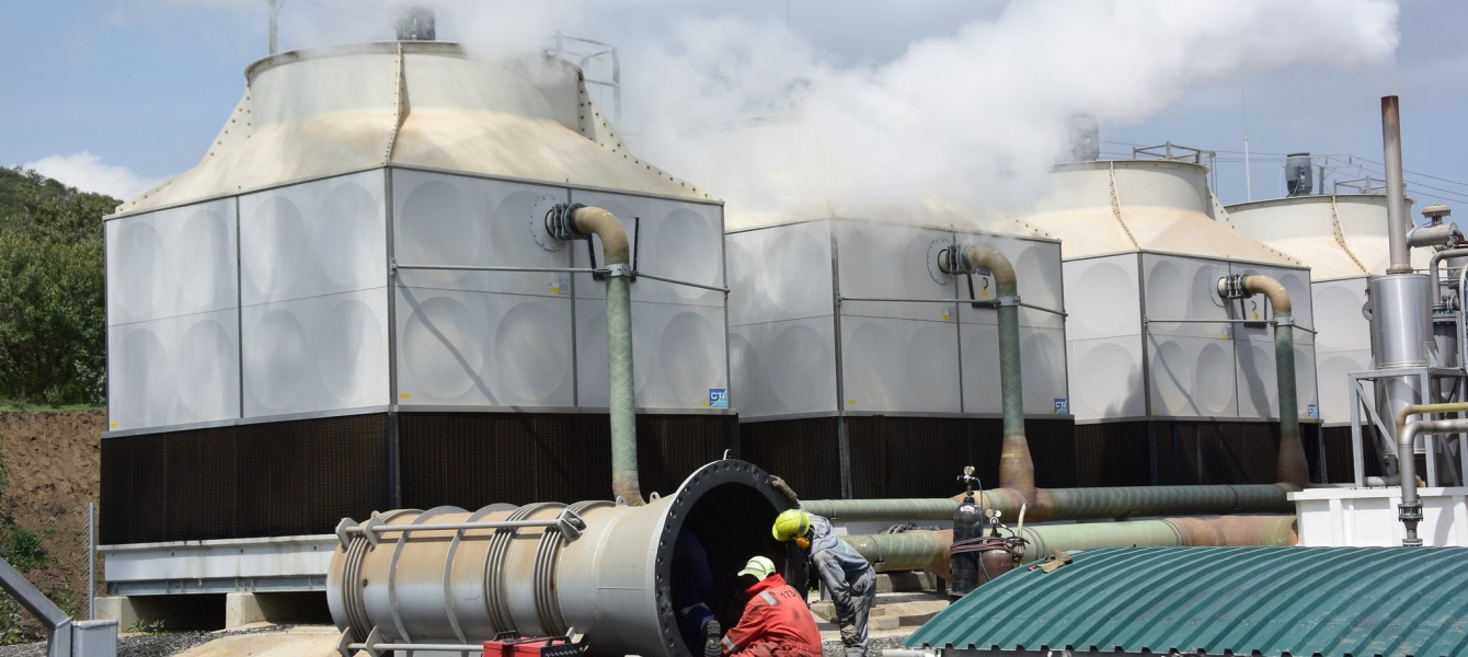 Olkaria geothermal complex and power station, the first geothermal power plant in Africa.