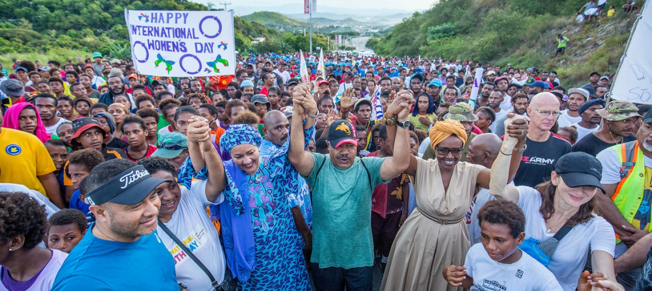 The UN Deputy Secretary-General, Amina Mohammed (center left) joins a march in support of International Women's Day in Port Moresby in Papua New Guinea in March 2020.