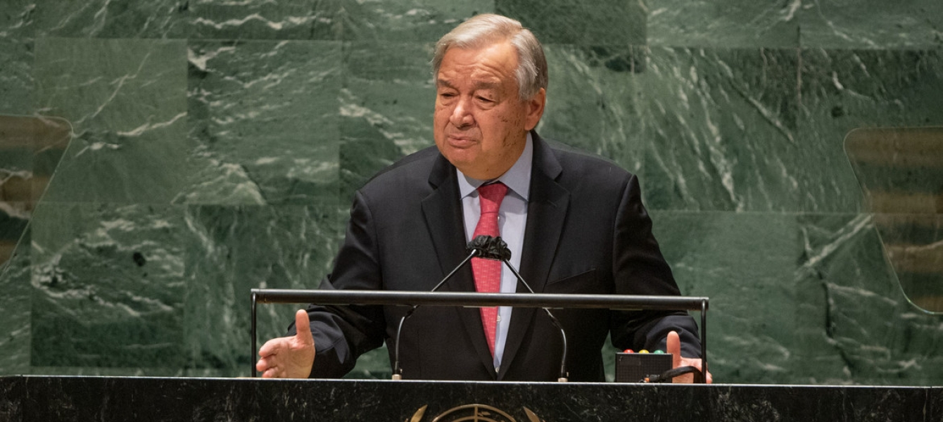 Secretary-General António Guterres addresses the opening of the general debate of the UN General Assembly's 76th session.