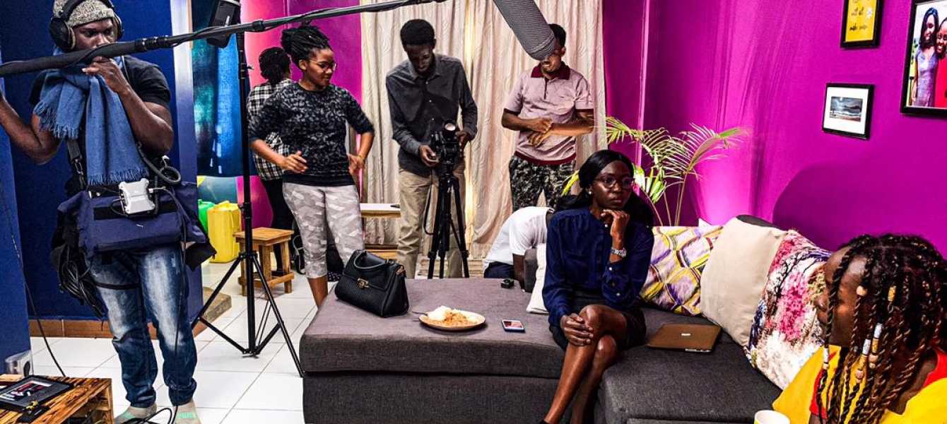 Daisy Masembe (second left), her crew and actors.