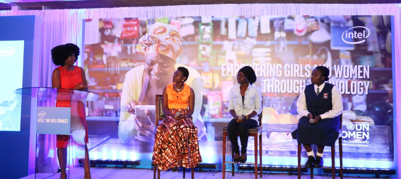"""Young women beneficiaries of the ''she will connect program'' talk about its impact during the launch of """"'My Digital Journey'' an online platform for women and girls to share information and engage constructively."""
