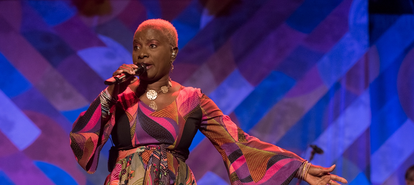 Angélique Kidjo performs in a concert.