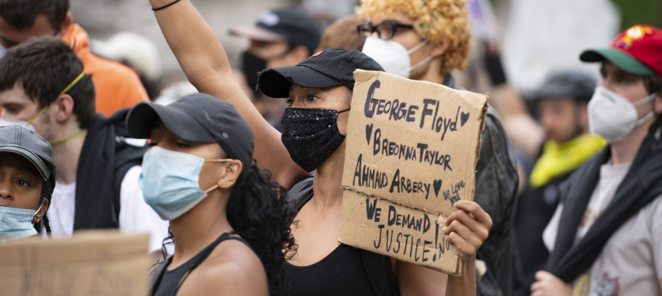 Protests are under way in New York City against racism and police violence after the death of George Floyd.
